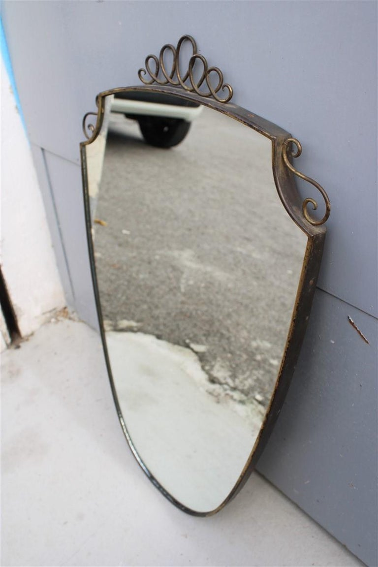 Shaped Mirror in Gold Brass with Italian Design Decorations For Sale 5