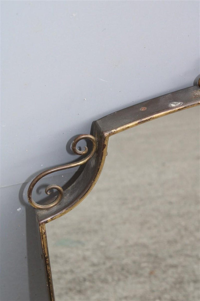 Mid-Century Modern Shaped Mirror in Gold Brass with Italian Design Decorations For Sale