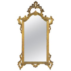 Shapely Italian Rococo Style Carved Giltwood Mirror with Openwork Rocaille Crest