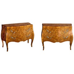 Shapely Pair of Italian Rococo Style Bombe-Form Olivewood Two-Drawer Chests