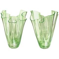 Shapely Pair of Murano Art Deco Chartreuse Glass Handkerchief Vases