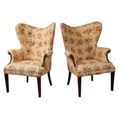Shapely Pair of Wing Chairs