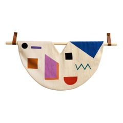 Shapes Hand Embroidered Geometric Modern Tapestry Wall Hanging