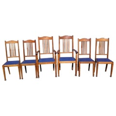 Shapland and Petter, a Good Quality Set of Six Arts and Crafts Oak Dining Chairs