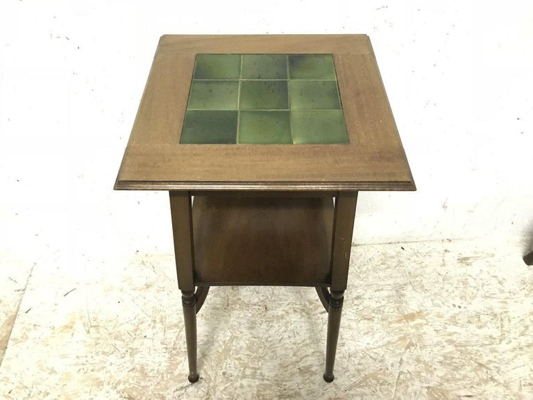 Arts and Crafts Shapland & Petter an Arts & Crafts Green Tile Top Plant Stand or Side Table For Sale
