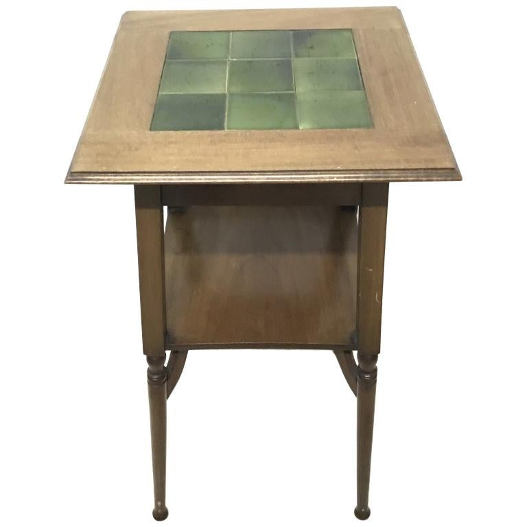 Shapland & Petter an Arts & Crafts Green Tile Top Plant Stand or Side Table For Sale