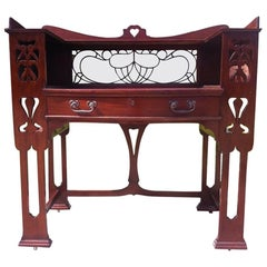 Shapland & Petter, Arts & Crafts Mahogany Desk with a Pierced Heart to the Top
