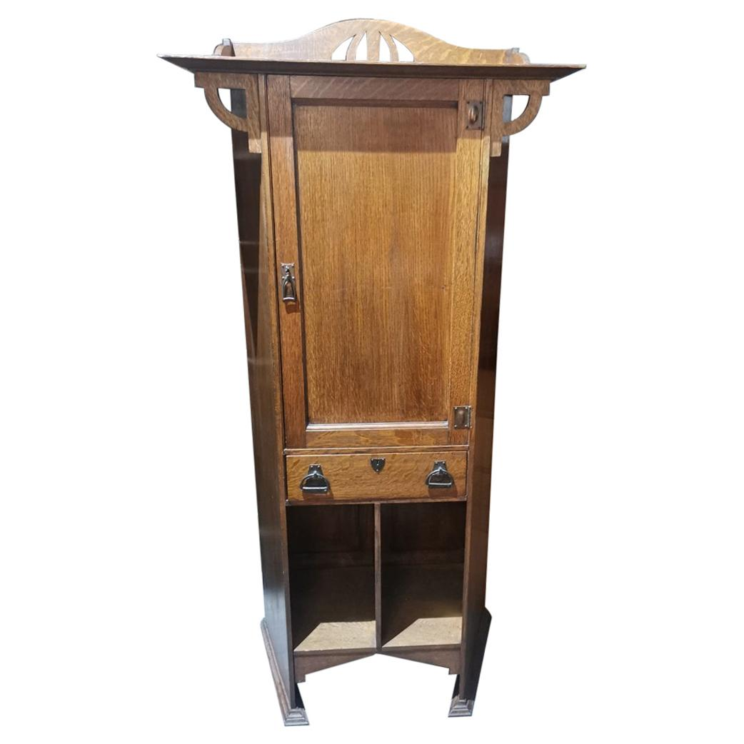 Shapland & Petter Arts & Crafts Oak Cabinet with Beaten Copper Handles & Hinges