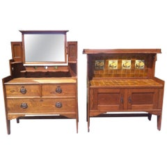 Shapland & Petter, Arts & Crafts Oak Dressing Table with Pierced Hearts