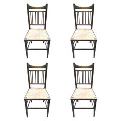 Shapland & Petter Attr, a Set of Four Simple Arts & Crafts Rush Seated Chairs