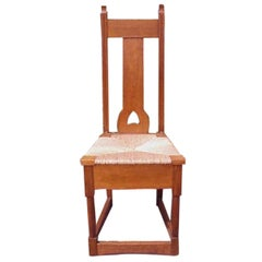Shapland & Petter, Baillie Scott Style of, Arts & Crafts Oak Rush Seated Chair
