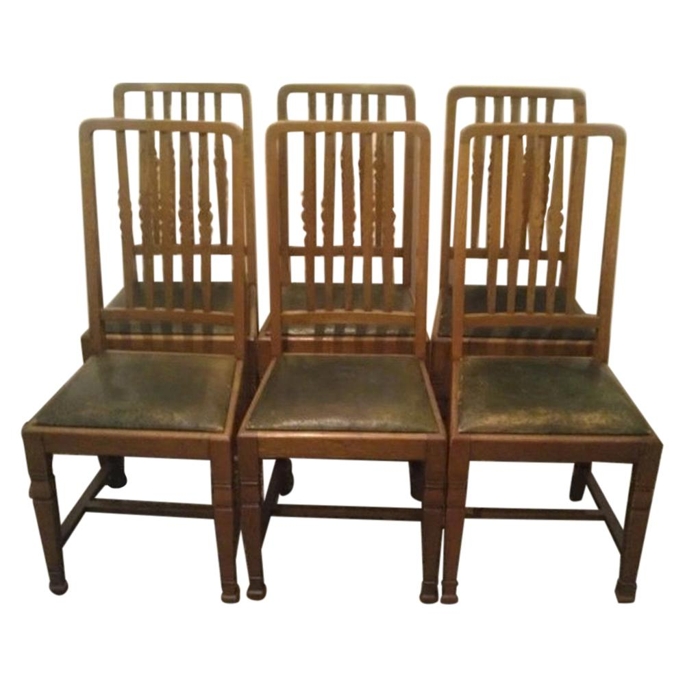 Shapland & Petter, Set of Six Arts & Crafts Oak Dining Chairs with Shaped Backs