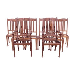 Shapland & Petter, Set Ten Arts & Crafts Oak Dining Chairs with Matching Settee