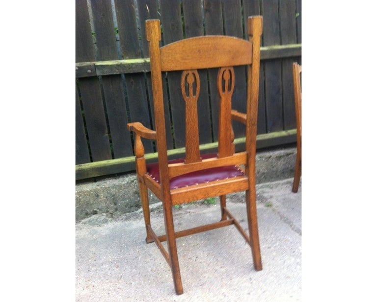 Arts and Crafts Shapland & Petter Substantial Arts & Crafts Oak Armchair with Floral Decoration For Sale