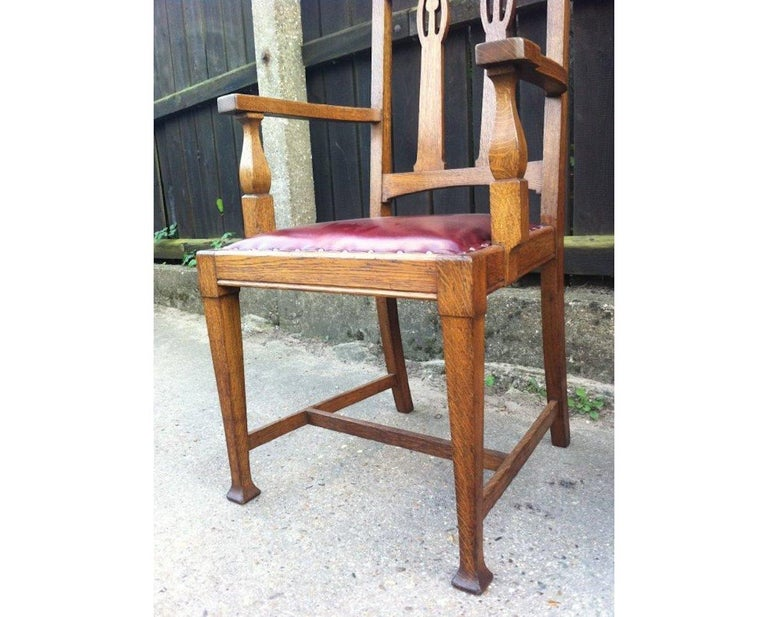 Shapland & Petter Substantial Arts & Crafts Oak Armchair with Floral Decoration For Sale 1