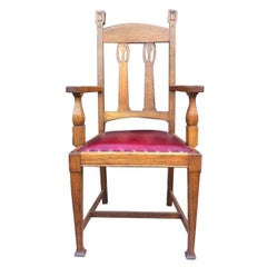 Shapland & Petter Substantial Arts & Crafts Oak Armchair with Floral Decoration