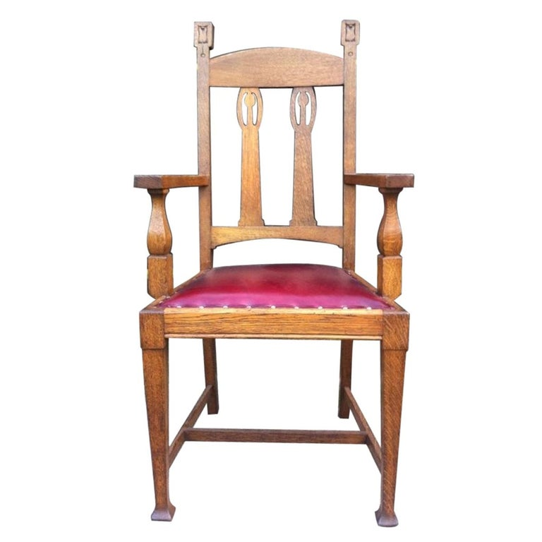 Shapland & Petter Substantial Arts & Crafts Oak Armchair with Floral Decoration For Sale