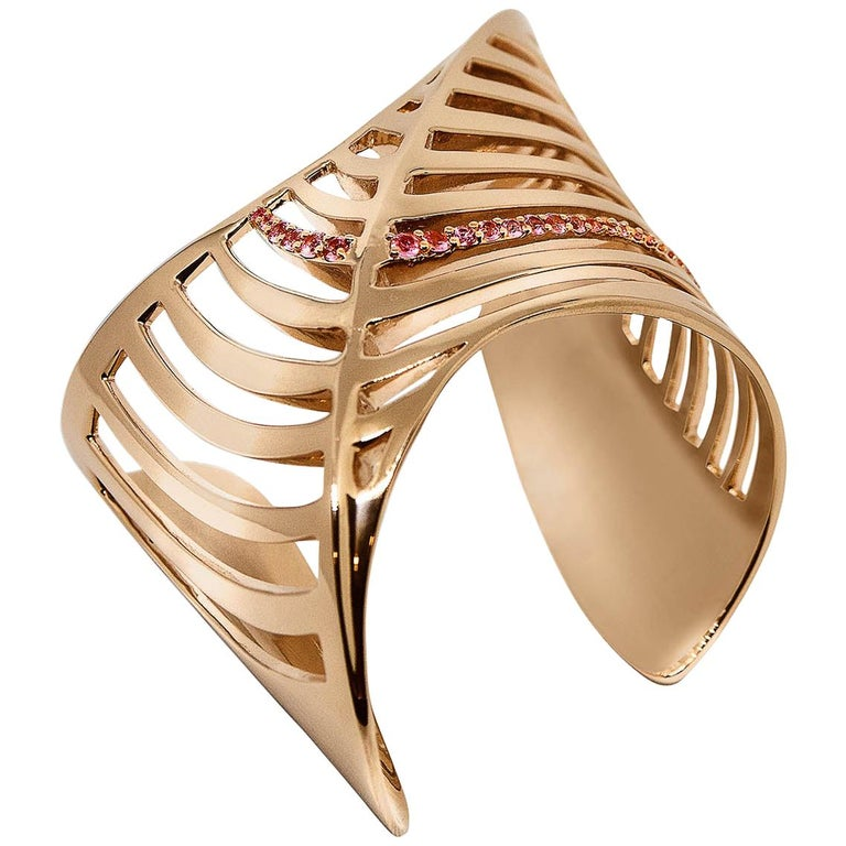 Sharch Cut Out Cuff Bracelet Rose Gold Vermeil with Pink Sapphires For Sale