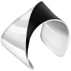 Sharch Solid Cuff Bracelet Sterling Silver and Black Enamel
