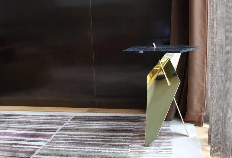 Modern Shard angular polished bronze and marble side table For Sale