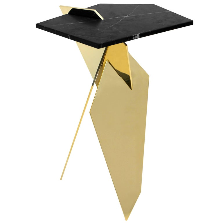 Shard angular polished bronze and marble side table For Sale