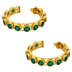 Shari Hoop Earrings in 18K Gold with Multicolored Gemstones
