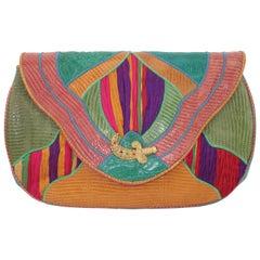 Sharif Exotic Leather & Silk Handbag With Scimitar Motif, 1980's