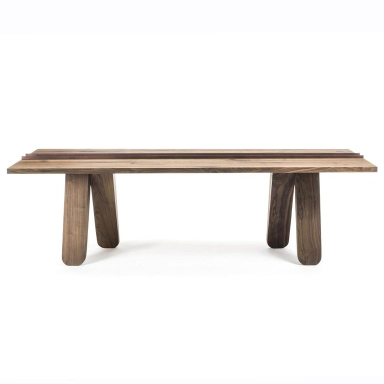 Dining Table Sharing all hand-crafted in solid walnut wood and with middle part in forged  iron in lacquered finsh. Also available in solid oak wood. Available in: L220xD110xH76,8cm, price: 7200,00€. L240xD110xH76,8cm, price: