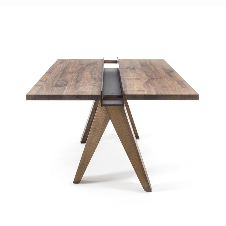 Forged Sharing Dining Table in solid Walnut Wood For Sale
