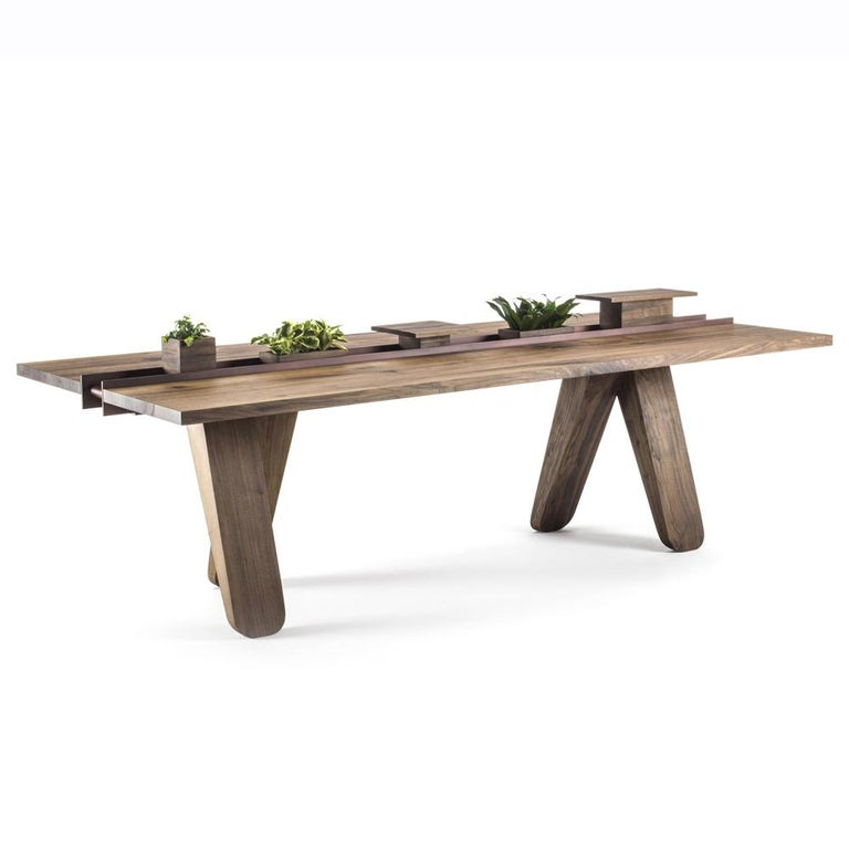 Contemporary Sharing Dining Table in solid Walnut Wood For Sale