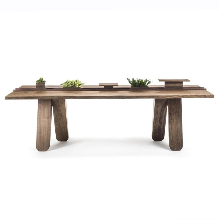 Iron Sharing Dining Table in solid Walnut Wood For Sale