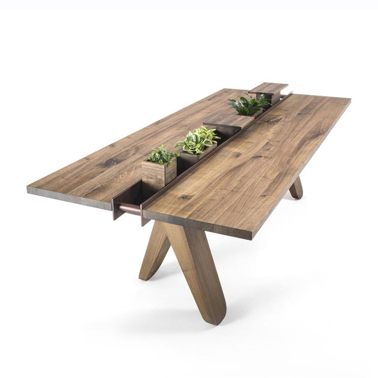 Sharing Dining Table in solid Walnut Wood For Sale 1