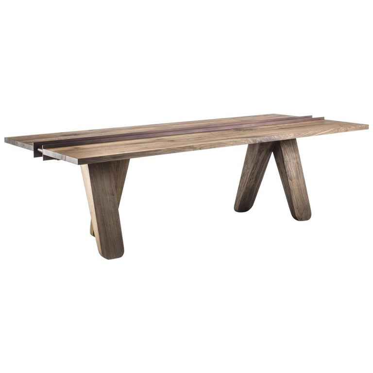 Sharing Dining Table in solid Walnut Wood For Sale