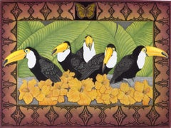 Rainforest Tapestry(colorful image of birds, ferns and flowers found in tropics)