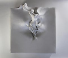 Be-formed 3 by Sharon Brill - Wall sculpture, Porcelain, White