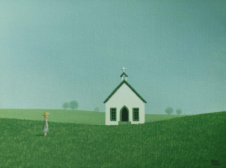 Headed to the Old Country Church, Painting, Acrylic on Canvas For Sale 1