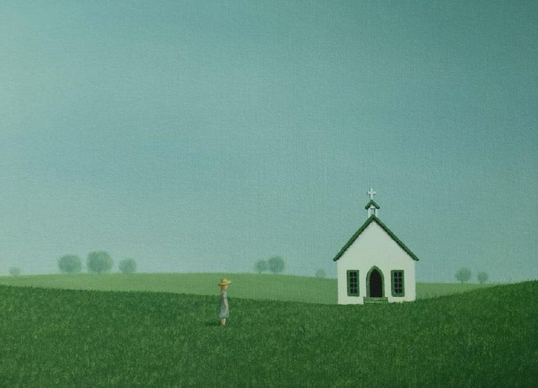 Headed to the Old Country Church, Painting, Acrylic on Canvas For Sale 2