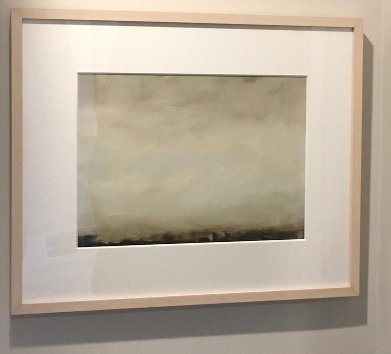 Sharon Gordon Landscape Painting - Cirrus I, Abstracted landscape, Hudson River School, Oil on board, framed
