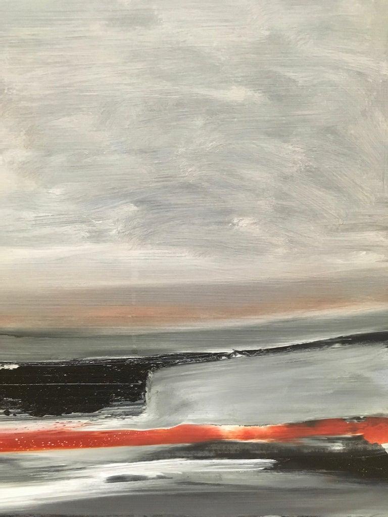 Shore III, Storm, abstract landscape, Oil on Board, Framed, Hudson River School For Sale 2