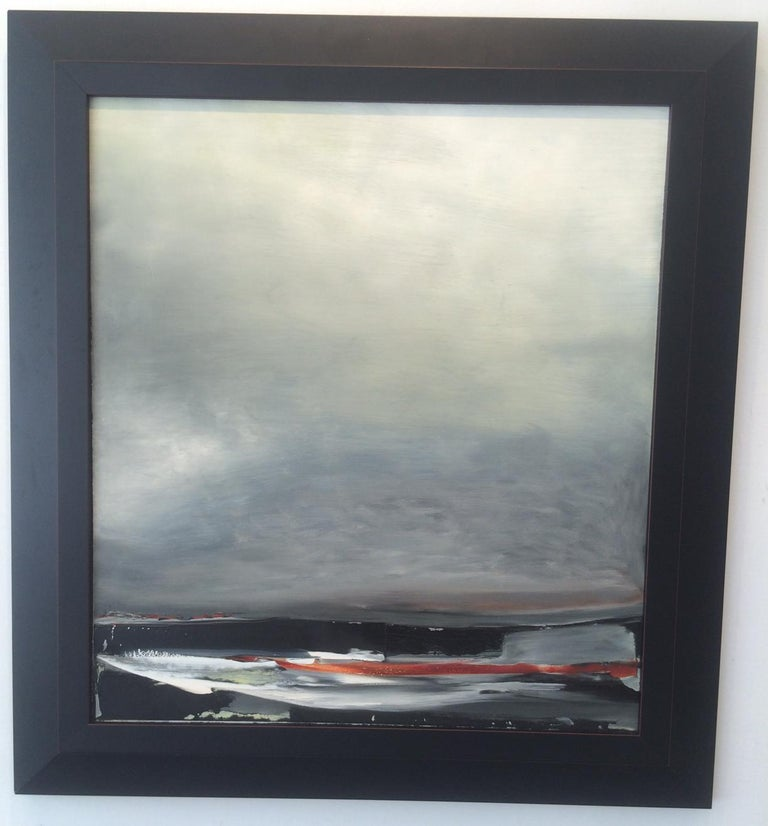 Shore III, Stormy abstract landscape, Oil on Board, Framed, Hudson River School - Painting by Sharon Gordon