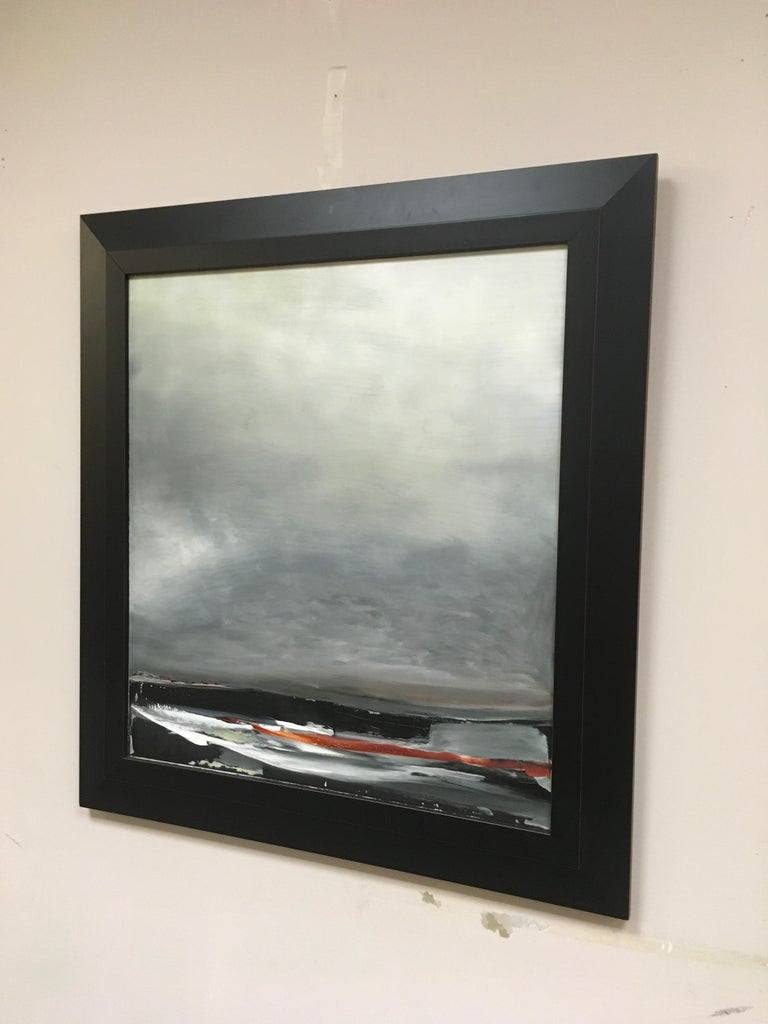 Shore III, Stormy abstract landscape, Oil on Board, Framed, Hudson River School - Gray Landscape Painting by Sharon Gordon
