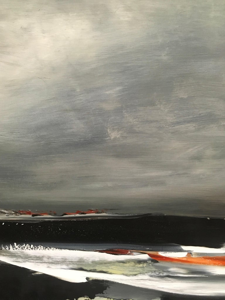 Shore III, Stormy abstract landscape, Oil on Board, Framed, Hudson River School For Sale 1