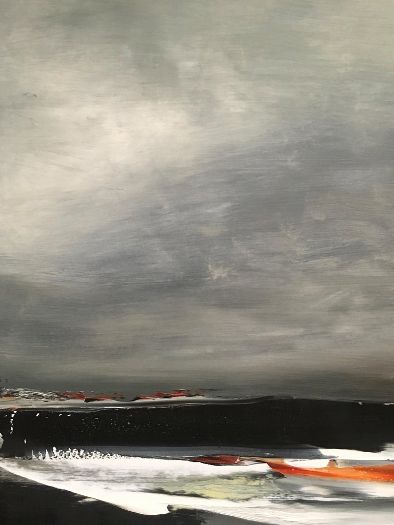 Shore III, Stormy abstract landscape, Oil on Board, Framed, Hudson River School For Sale 3