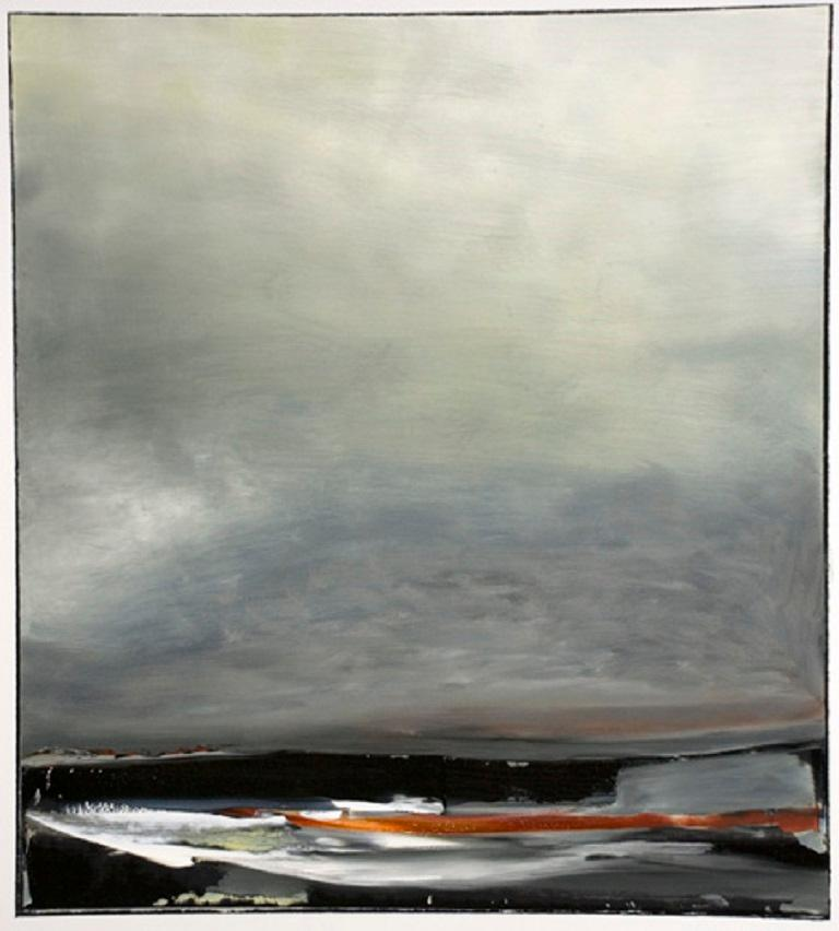 Sharon Gordon Landscape Painting - Shore III, Stormy abstract landscape, Oil on Board, Framed, Hudson River School