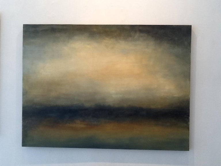 Transcend, Abstract Landscape, Hudson River School Yellow, Brown - Painting by Sharon Gordon