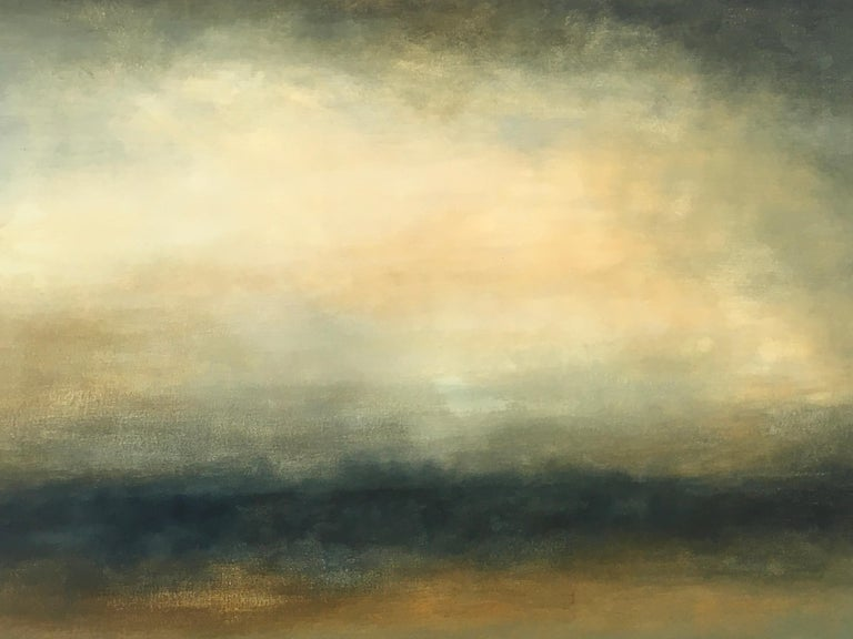 Transcend is an abstracted landscape, oil on canvas, 28x38.    In Sharon Gordon's landscapes, you can feel her deep connection and passion for the ever-changing nature of large bodies of water, and the mystery and promise of the horizon. The view