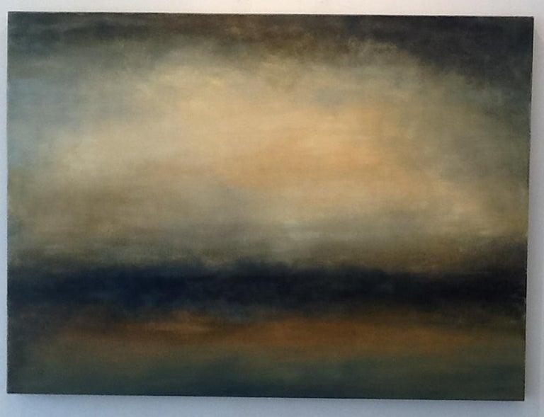 Sharon Gordon Landscape Painting - Transcend, Abstract Landscape, Hudson River School Yellow, Brown