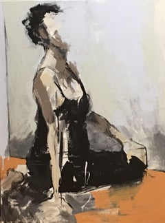 Girl on Mat I by Sharon Hockfield, Vertical Contemporary Mixed Media Painting