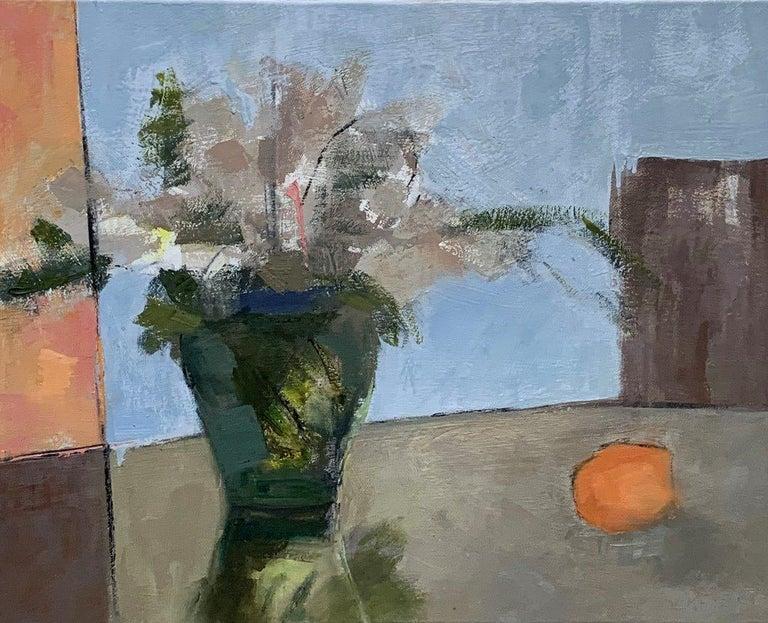 This beautiful piece by American Artist Sharon Hockfield depicts a striking contemporary still life.  With a nod to Cezanne's post-impressionist still lifes by reducing objects to their basic shapes while retaining the saturated colors of