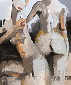 The Space Between by Sharon Hockfield, Mixed Media on Canvas Nude Painting